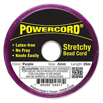 Powercord Elastic Stretch Cord Purple 0.5mm 4-Lb Test 25-Meter Latex-Free H20-1692Bs