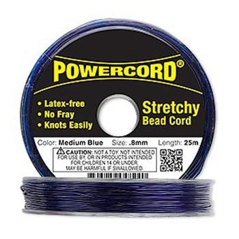 Powercord Elastic Stretch Cord Blue 0.8mm 8.5-Lb Test 25-Meter Latex-Free H20-1699Bs