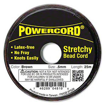 Powercord Elastic Stretch Cord Brown 0.5mm 4-Lb Test 25-Meter Latex-Free H20-1694Bs