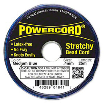 Powercord Elastic Stretch Cord Blue 0.4mm 3.5-Lb Test 25-Meter Latex-Free H20-3296Bs