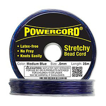 Powercord Elastic Stretch Cord Blue 0.5mm 4-Lb Test 25-Meter Latex-Free H20-1689Bs