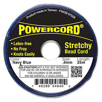 Powercord Elastic Stretch Cord Navy Blue 0.4mm 3.5-Lb Test 25-Meter Latex-Free H20-3295Bs