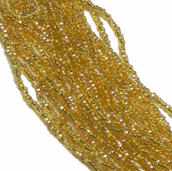 Gold Light Topaz Silver Lined Czech 6/0 Seed Bead On Loose Strung 6 String Hank Sb6-17050