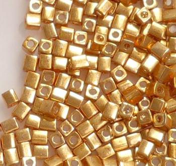 20 Grams Metallic Gold Miyuki 4mm Square Cube Glass Seed Beads Sb4-1053-Tb