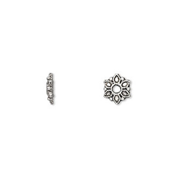 100 Bead Caps 7x2mm Flower For 6-12mm Beads Antiqued Silver Cast Pewter Metal 1731Bb