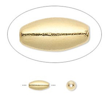 100 Beads Gold-Plated Brass 8x4mm Smooth Oval Spacer Metal Bead 2906Mb