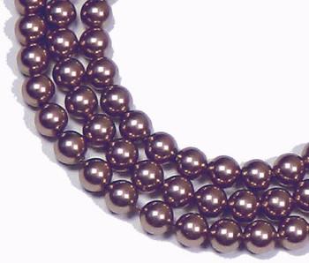 "100 Swarovski Crystal Pearls 6mm Round Beads 5810. 24"" Loose Strand Burgandy 581006Bu"