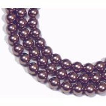 "100 Swarovski Crystal Pearls 6mm Round Beads 5810. 24"" Loose Strand Burgandy"