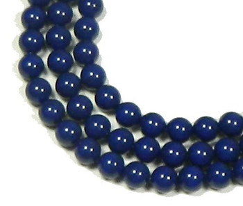 "100 Swarovski Crystal Pearls 6mm Round Beads 5810. 24"" Loose Strand Dark Lapis 581006Cdl"