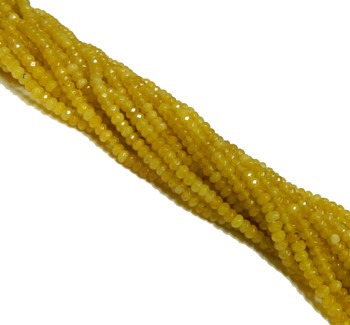 4mm Yellow Chalcedony Faceted Dyed Gemstone Rondelle Beads 15 Inch Loose B2-Sc1B92