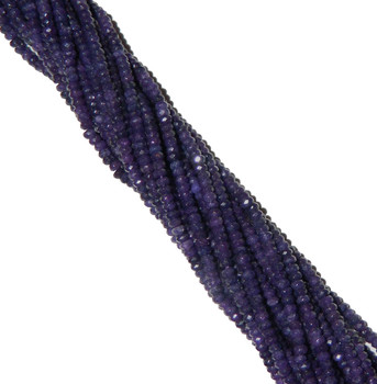 Amethyst 4mm Faceted Dyed Gemstone Rondelle Beads 15 Inch Loose B2-Sc1D11