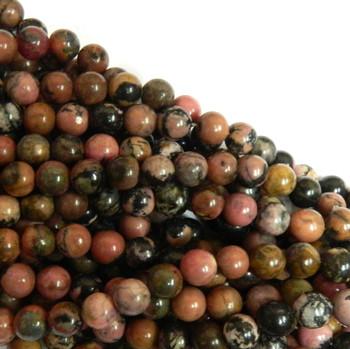 Rhodonite 10mm Natural Gemstone Rondelle Beads 15 Inch Loose B2-R14-10