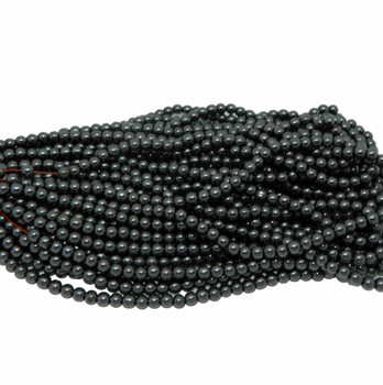 """4mm Hematite Manmade Round Beads 40Cm 15"""" Stone B2-4A21"""