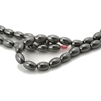 6x8mm Hematite Manmade Oval Beads 15 Inch Loose Srand B2-H21