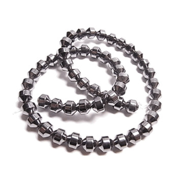 6mm Hematite Manmade Drum Beads 15 Inch Loose Srand B2-H19