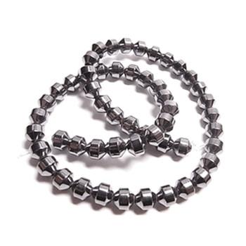 6mm Hematite Manmade Drum Beads 15 Inch Loose Srand B2-H19