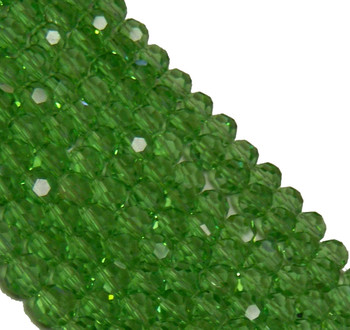 "Green Transparent 8mm Faceted Round Beads 18"" Strand Glass Crystal Beads B2-Uc8A17"