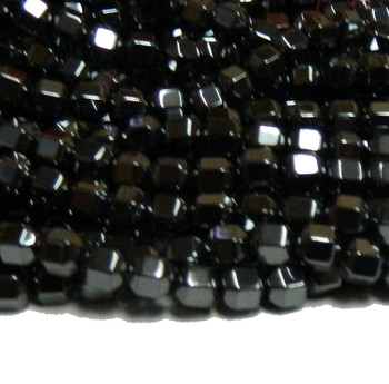 4mm Hematite Manmade Faceted Cube Beads 15 Inch Loose Srand B2-H15