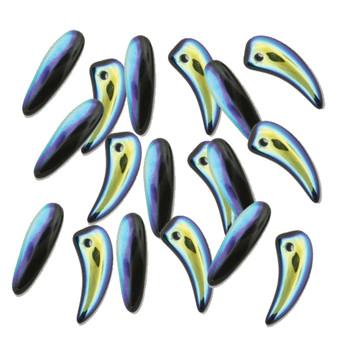 Jet Ab Tooth Glass Czech Beads 6x16mm 22 Piece Strand Tth61623980-28701