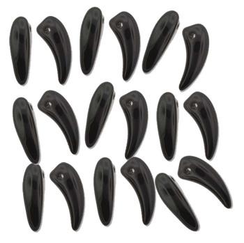 Jet Tooth Glass Czech Beads 6x16mm 22 Piece Strand Tth61623980