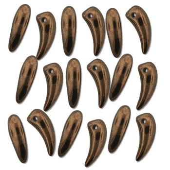 Jet Bronze Tooth Glass Czech Beads 6x16mm 22 Piece Strand Tth61623980-14415