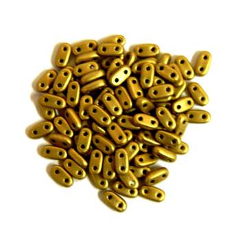 Metallic Antique Gold Matte Seed Bead Bar Czech Glass Czechmate Beads 9.5 Grams 6x3mm 2mm Thick Bar26-K0174