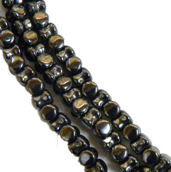 Jet Hemitite Preciosa Czech Glass 4x6mm Pellet 30 Beads Plt46-23980-14400