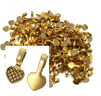 5 Glue On Heart Bails Pendant Hanger Gold Tone Plated 16x8mm Ac-B34406-5