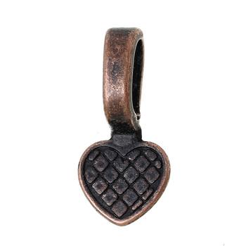 5 Glue On Bails Pendant Hanger Heart Antique Copper Plated 16x8mm Ac-B63385-5