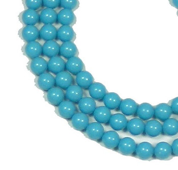 "100 Swarovski Crystal Pearls 6mm Round Beads 5810. 24"" Loose Strand Turquoise 581006Ctp"