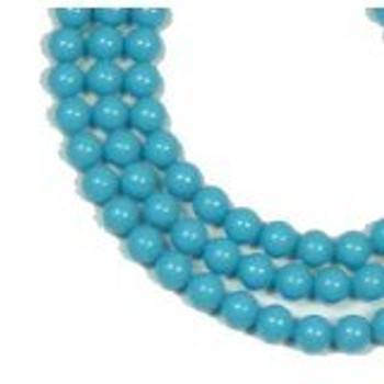 "100 Swarovski Crystal Pearls 6mm Round Beads 5810. 24"" Loose Strand Turquoise"