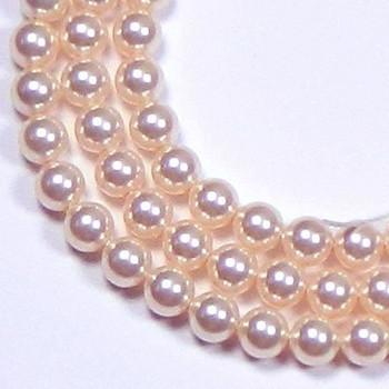 "100 Swarovski Crystal Pearls 4mm Round Beads 5810. 16"" Loose Strand Peach 581004Pea"