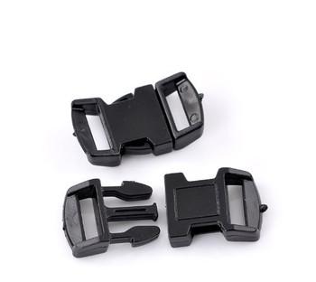 """10 Sets Black Para Cord Survival Bracelets Plastic Buckle 1 1/8""""x 5/8"""" Findings Ac-B22085"""
