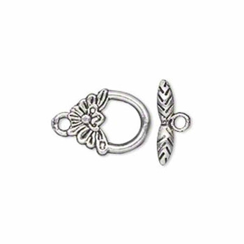 3 Antiqued Silver Pewter Flower Toggle Clasps 15x12mm Loop 15mm Bar Ac-8829Fx