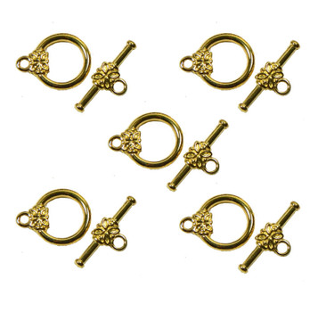 3 Gold Plated Brass Jewelry Toggle Clasps 14mm Flower Design Findings Ac-5720Fy