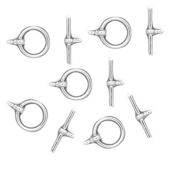 3 Shiny Silver Plated Brass Jewelry Toggle Clasps 12mm Basic Findings Ac-5739Fy