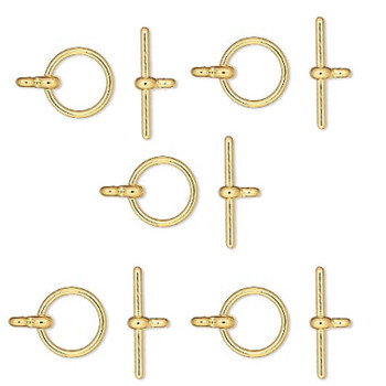 3 Gold Plated Brass Toggle Clasps 12mm Basic Findings Ac-5724Fy