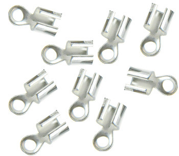 15 Silver Plated Brass Cord Tip Ends Silver-Plated Brass 10x5mm Ac-080422004755-Sp