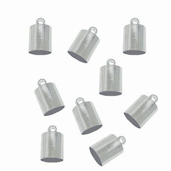 10 Nickel Steel Tone Plated Brass Cord End Cap 4x8x4mm Inside Hole 3 5mm Ac-131129161234-4x8Np