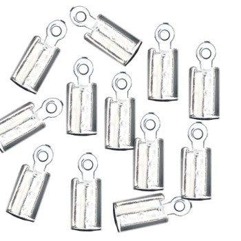 15 Cord End/Tip Crimp Silver Plated Glue-In Style 10x4mm Ac-B06636