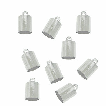 10 Silver Plated Brass Cord End Cap 4x8x4mm Inside Hole 3 5mm Ac-131129161234-4x8Sp