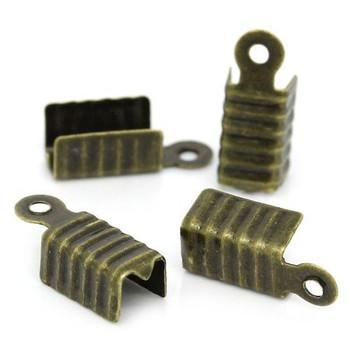 25 Fold Over Cord Tip/Ends Crimps Antiqued Brass 12x5mm Ac-B29039