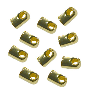 10 Cord End Glue-In Style Gold-Plated Brass 8x5mm 4mm Hole Ac-1957Fn