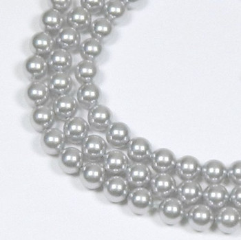 "100 Swarovski Crystal Pearls 4mm Round Beads 5810. 16"" Loose Strand Light Grey 581004Grylt"