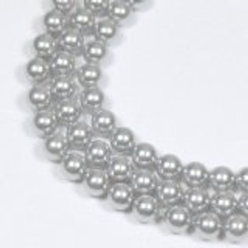 "100 Swarovski Crystal Pearls 4mm Round Beads 5810. 16"" Loose Strand Light Grey"