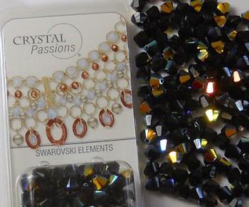4mm Jet Black AB Swarovski Bicone Beads Xillian 144 Piece By Crystal Passions Distributor of Swarovski Elements Crystals Made in Austria Xillion Cut 5328