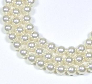 "100 Swarovski Crystal Pearls 6mm Round Beads 5810. 24"" Loose Strand White 581006Wht"