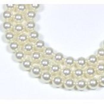 "100 Swarovski Crystal Pearls 6mm Round Beads 5810. 24"" Loose Strand White"
