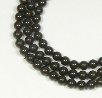 "100 Swarovski Crystal Pearls 4mm Round Beads 5810. 16"" Loose Strand Deep Brown 581004Dpbr"