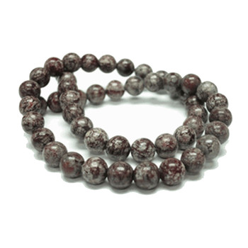 8mm Brown Snowflake Round Gemstone Round Beads 15 Inch Loose Strand B2-8B4